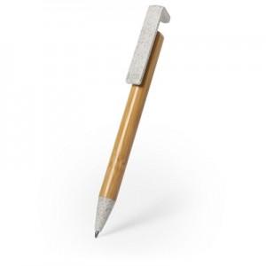 Bambuko rutulinis rašiklis, kviečių šiaudų detalės, telefono stovas