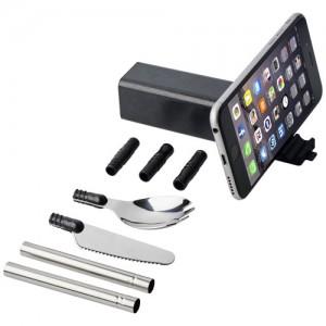 Kelioninis stalo įrankių rinkinys su telefono laikikliu