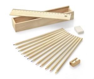 Medinė dėžutė su 12 vnt spalvotų pieštukų Krasi