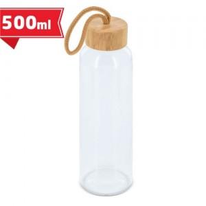 Stiklo butelis su bambuko dangčiu