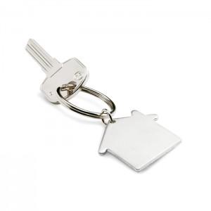 Metalinis raktų pakabukas namo formos