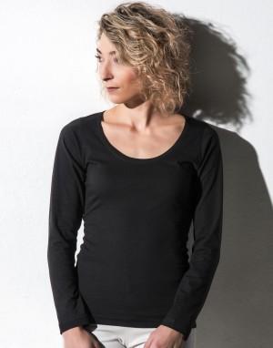 Moteriški marškinėliai apvalia, gilia kaklo iškirpte (iš ekologiškos medvilnės)