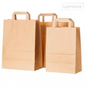 Rudi popieriniai maišeliai plokščiomis popierinėmis rankenėlėmis, 320x440 mm