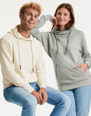 Ekologiškas džemperis su gobtuvu ir aukšta apykakle