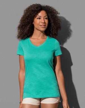 Moteriški marškinėliai su formos kaklo iškirpte