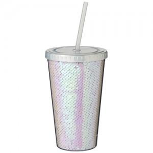 470 ml puodelis su dangteliu ir šiaudeliu.