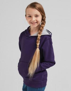 Kontrastingų spalvų vaikiškas džemperis su gobtuvu