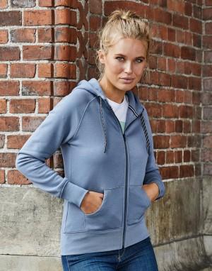 Stilingas moteriškas džemperis su gobtuvu ir su viso ilgio užtrauktuku