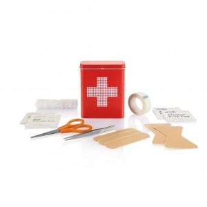 Pirmosios pagalbos skardinė dėžutė, raudonos spalvos