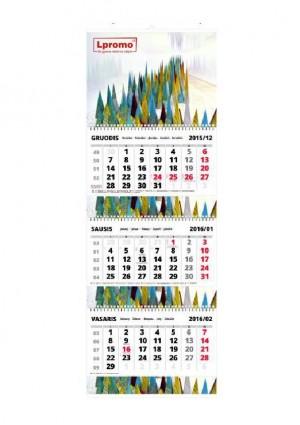 Trijų dalių sieniniai kalendoriai su reklaminiais intarpais